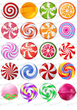 Load image into Gallery viewer, Lollipops Set - 2 inch - ESA112 - Meringue Chocolate Isomalt transfer sheets