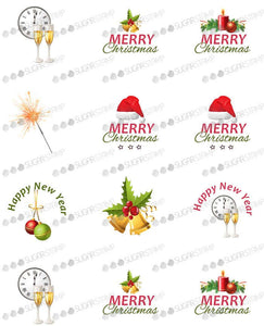 Merry Christmas, Happy New Year - H02-Sugar Stamp sheets-Sugar Art