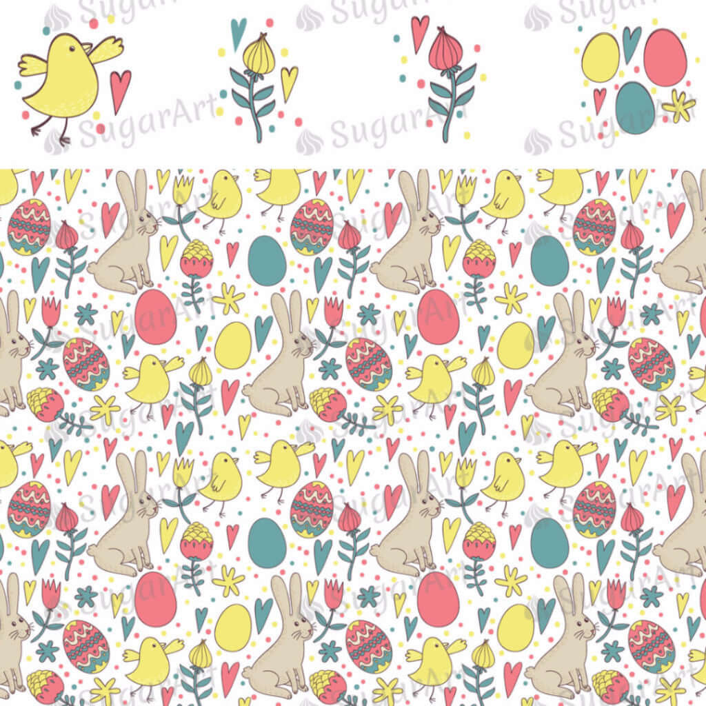 Retro Easter Elements and Pattern - HSA007