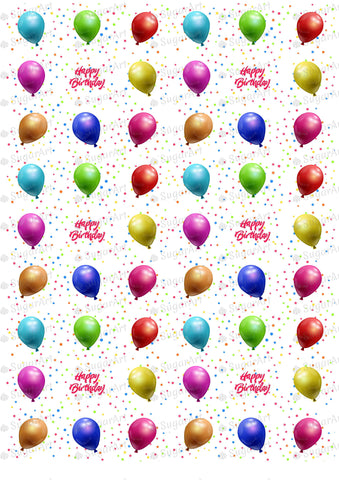 Happy Birthday With Colored Balloons - HSA030