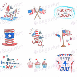 Watercolour Independence Day, 4th of July - HSA036-Sugar Stamp sheets-Sugar Art