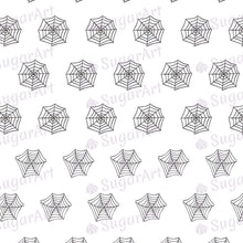 Load image into Gallery viewer, Tiny Spiders and Spider Webs - 0.5 inch - HSA043-Sugar Stamp sheets-Sugar Art