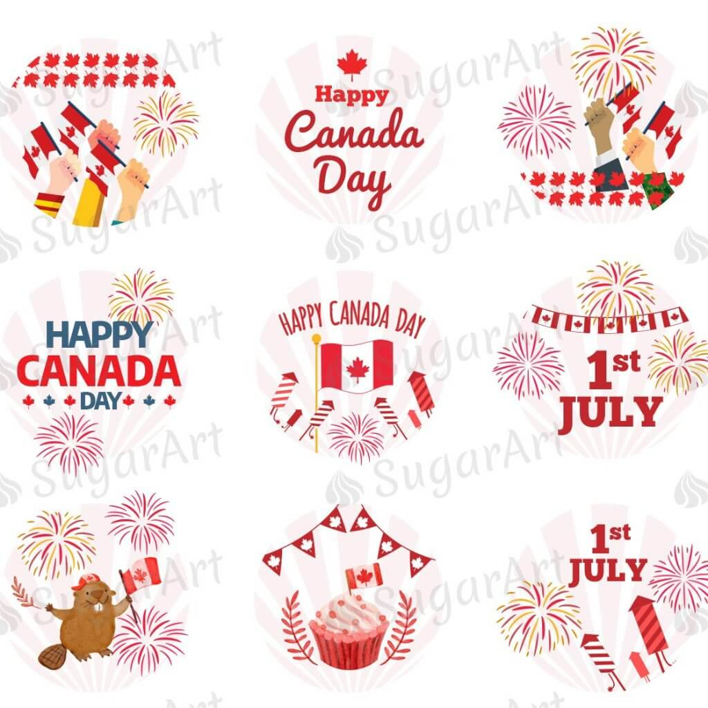 Happy Canada Day, 1st July - HSA065-Sugar Stamp sheets-Sugar Art