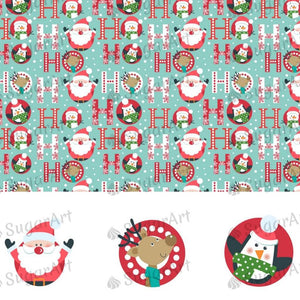 Christmas Pattern with Santa, HO HO - HSA074-Sugar Stamp sheets-Sugar Art