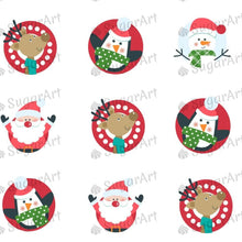 Load image into Gallery viewer, Christmas Pattern with Santa, HO HO - HSA074-Sugar Stamp sheets-Sugar Art
