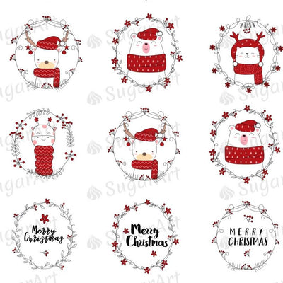 Hand Drawn Christmas Design with Cute Animals - HSA078