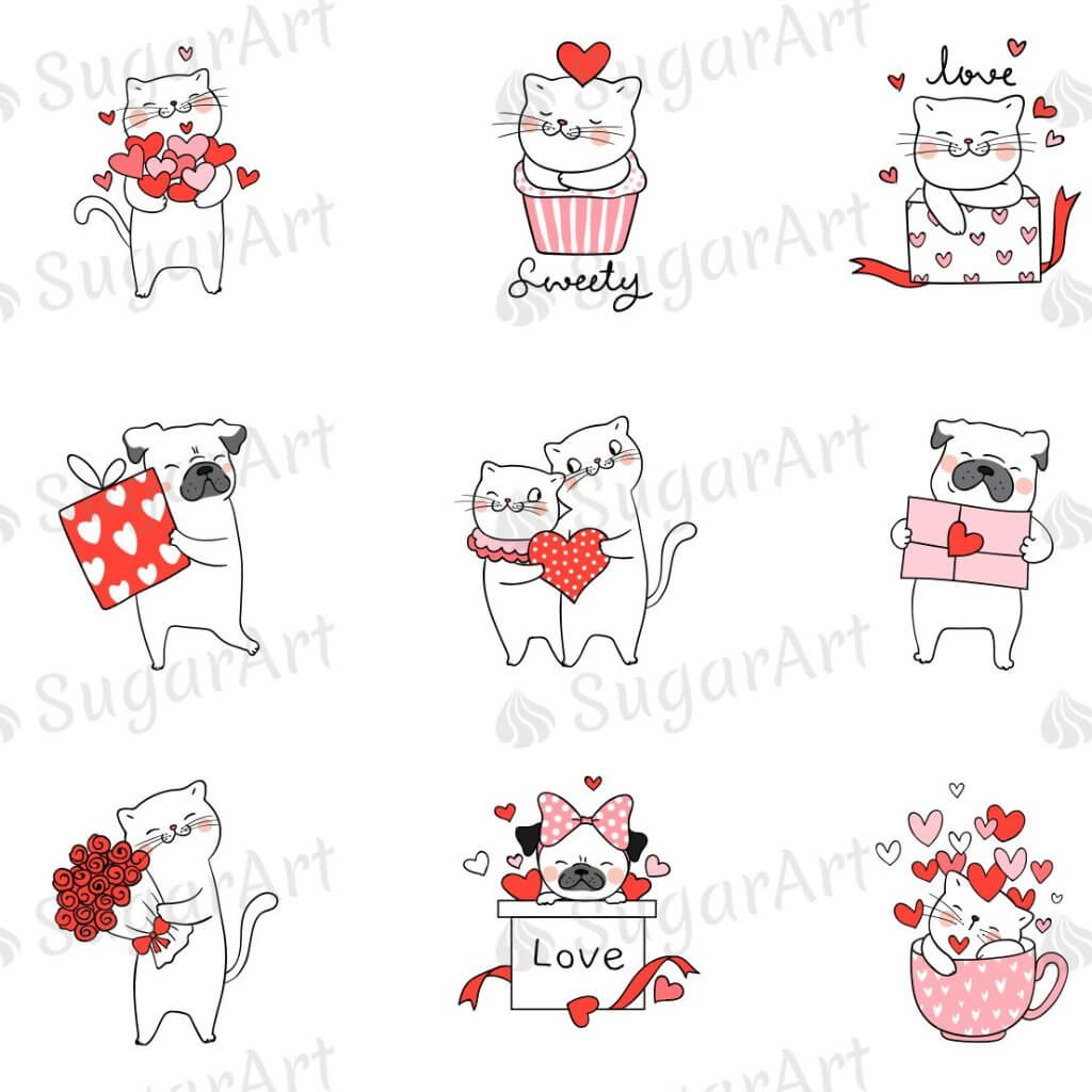 Cute Cats and Dogs for Valentine's Day - HSA079