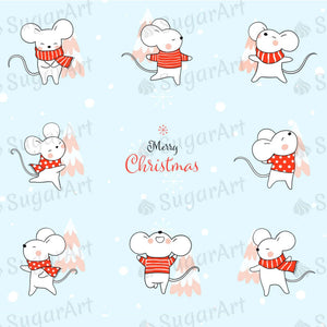Merry Christmas Design with Cute Rats - HSA083 - Sugar Art