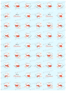 Merry Christmas Design with Cute Rats - HSA083-Sugar Stamp sheets-Sugar Art