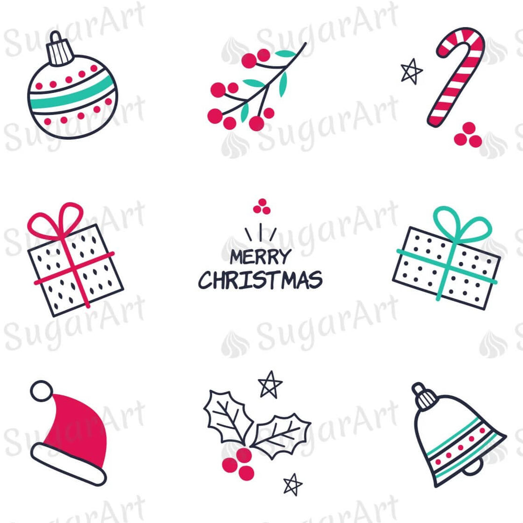Hand Drawn Christmas Elements - HSA085 - Sugar Art