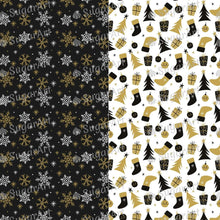 Load image into Gallery viewer, Gold and Black Christmas Pattern - HSA096 - Sugar Art Canada Meringue Transfer sheets