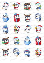 Load image into Gallery viewer, Winter Cute Penguins Set - 2 inch - HSA099 - Sugar Art Canada - Meringue Transfer Sheets