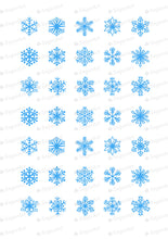 Load image into Gallery viewer, Blue Snowflakes - Round Stencil Mat - HSA100 - Meringue Transfer Sheets