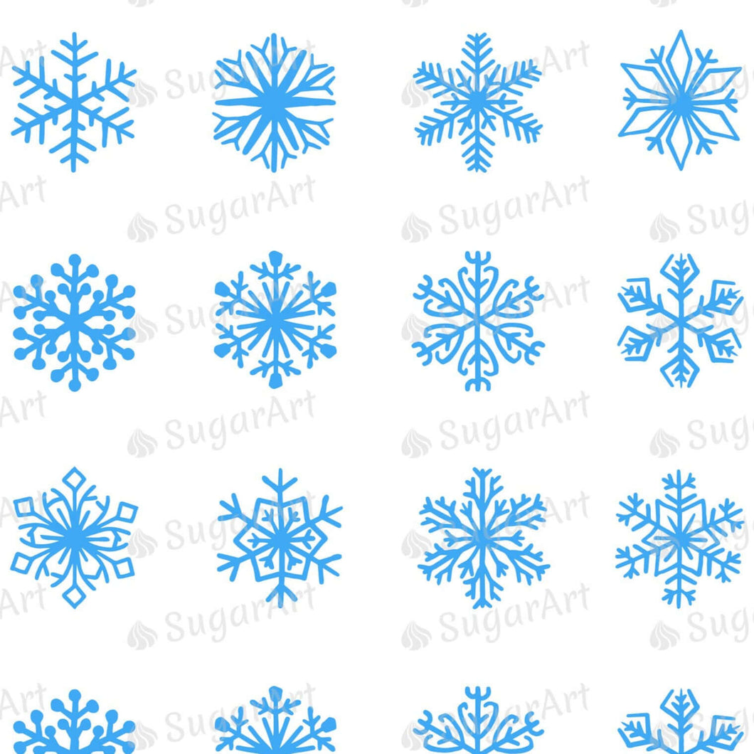 Blue Snowflakes - Round Stencil Mat - HSA100 - Meringue Transfer Sheets