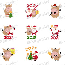 Load image into Gallery viewer, Happy New Year, 2021 - Year of the Ox - HSA052 - Sugar Art Canada - Meringue Transfer sheets