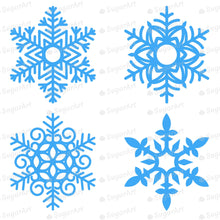 Load image into Gallery viewer, Giant Six Blue Snowflakes - HSA101 - Meringue Chocolate Transfer sheets