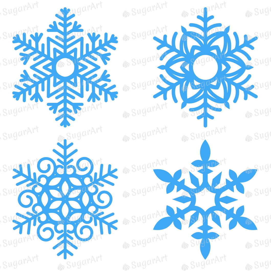 Giant Six Blue Snowflakes - HSA101 - Meringue Chocolate Transfer sheets