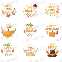 Load image into Gallery viewer, Give Thanks - Happy Thanks - HSA104 - Meringue Chocolate Isomalt transfer sheets