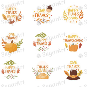 Give Thanks - Happy Thanks - HSA104 - Meringue Chocolate Isomalt transfer sheets