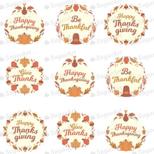Load image into Gallery viewer, Be Thankful - Happy Thanksgiving - HSA105 - Meringue Chocolate Isomalt transfer sheets