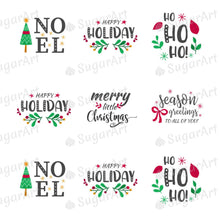 Load image into Gallery viewer, Winter Holidays Quotes - Round Stencil Mat - HSA107 - Meringue Chocolate Isomalt transfer sheets