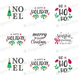 Winter Holidays Quotes - Round Stencil Mat - HSA107 - Meringue Chocolate Isomalt transfer sheets