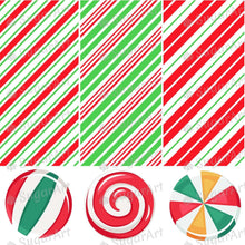 Load image into Gallery viewer, Christmas Candy Cane Collection - HSA109 - Meringue Chocolate Isomalt transfer sheets