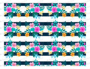 Floral Vintage Stripes - Icing - ISA001 - Sugar Art