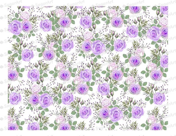 Purple Roses Pattern - Icing - ISA005