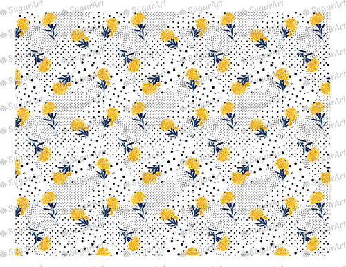 Polka Dots Floral Backgraund - Icing - ISA008 - Sugar Art