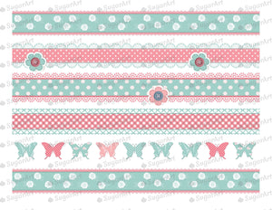 Shabby Chic Striped Background- Icing - ISA011-Icing/Frosting Paper-Sugar Art
