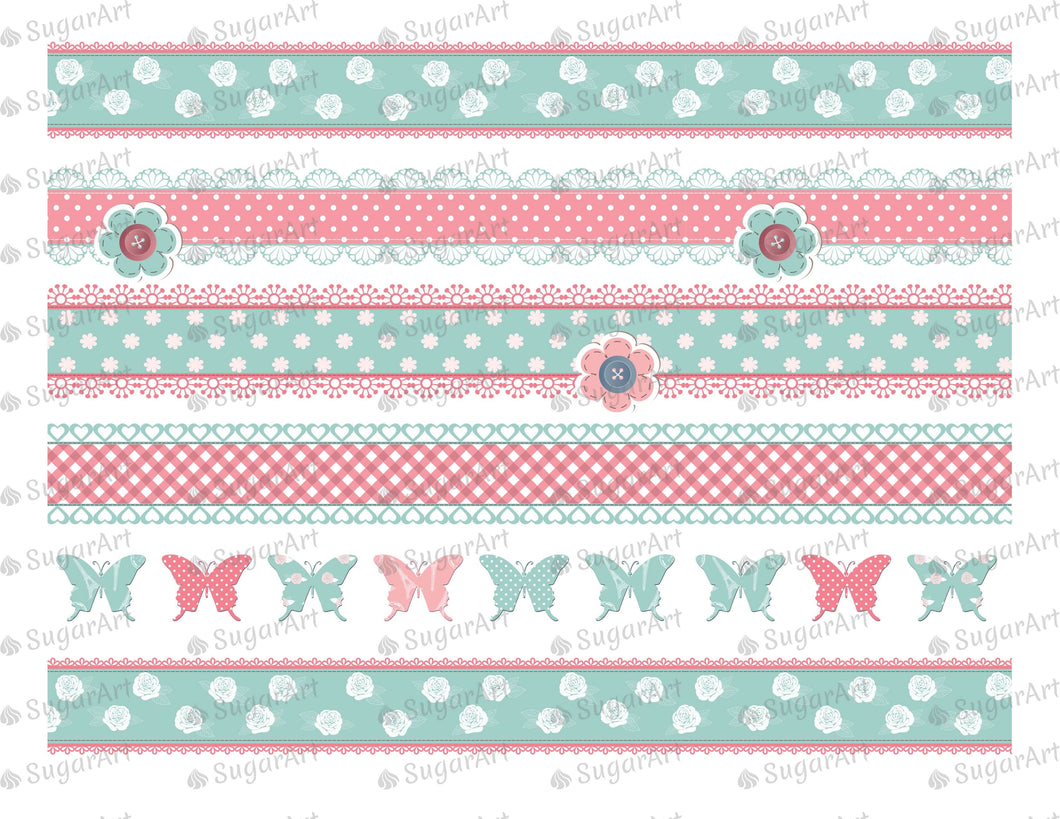 Shabby Chic Striped Background- Icing - ISA011 - Sugar Art