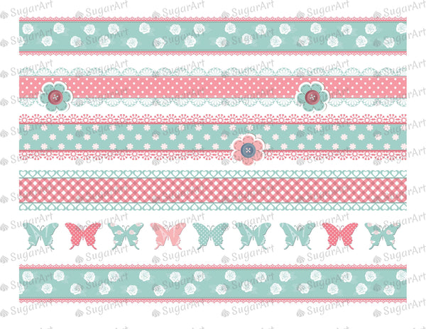 Shabby Chic Striped Background- Icing - ISA011