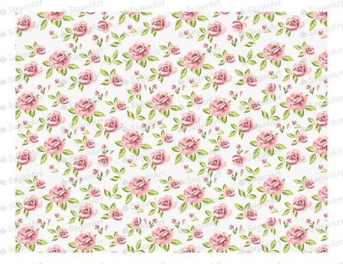 Retro Roses Pattern - Icing - ISA014 - Sugar Art