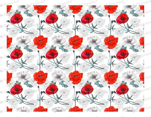 Poppy Flowers Background - Icing - ISA015 - Sugar Art