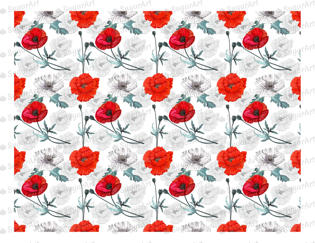 Poppy Flowers Background - Icing - ISA015-Icing/Frosting Paper-Sugar Art