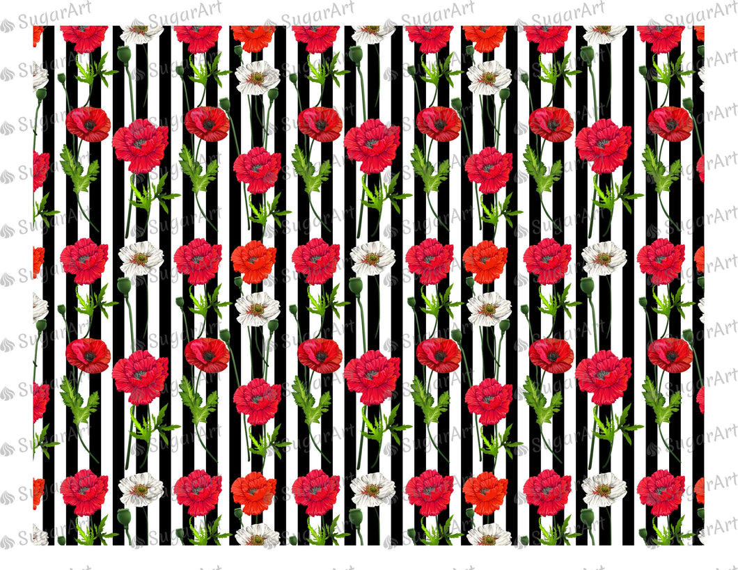 Red Poppy Flowers Pattern Striped- Icing - ISA016-Icing/Frosting Paper-Sugar Art