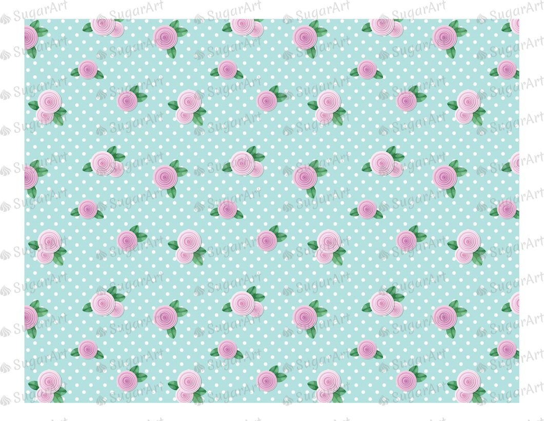 Shabby Chic Roses Background- Icing - ISA018-Icing/Frosting Paper-Sugar Art