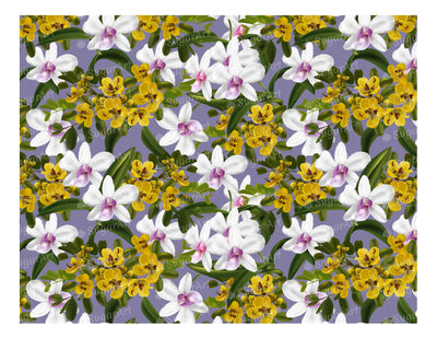 Cassia and Orchid Pattern - Icing - ISA031