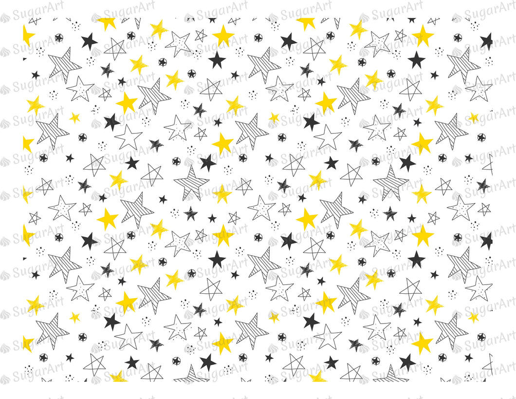 Hand Drawn Stars Background - Icing - ISA034-Icing/Frosting Paper-Sugar Art