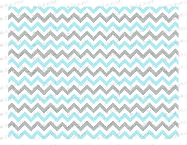 Blue and Grey Zig Zag Pattern - Icing - ISA038