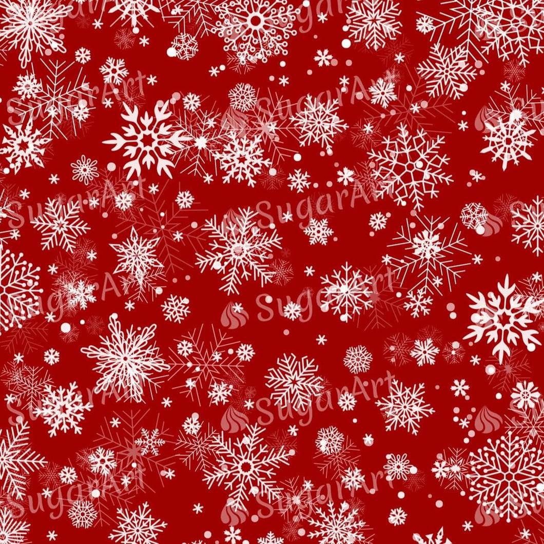White Snowflakes on Red Background - Icing - ISA042 - Sugar Art