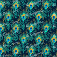 Load image into Gallery viewer, Peacock Feather Pattern - Icing - ISA049-Icing/Frosting Paper-Sugar Art