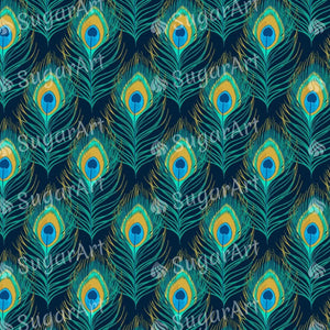 Peacock Feather Pattern - Icing - ISA049-Icing/Frosting Paper-Sugar Art