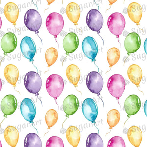 Colorful Balloons Watercolor Pattern - Icing - ISA050-Icing/Frosting Paper-Sugar Art