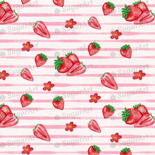 Load image into Gallery viewer, Striped Pattern Watercolor Strawberries - Icing - ISA052-Icing/Frosting Paper-Sugar Art