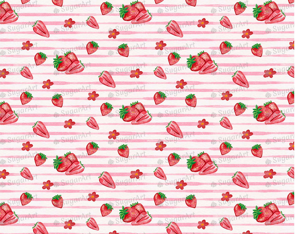 Striped Pattern Watercolor Strawberries - Icing - ISA052-Icing/Frosting Paper-Sugar Art