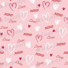 Load image into Gallery viewer, Word Love and Hearts Pattern - Icing - ISA071-Icing/Frosting Paper-Sugar Art