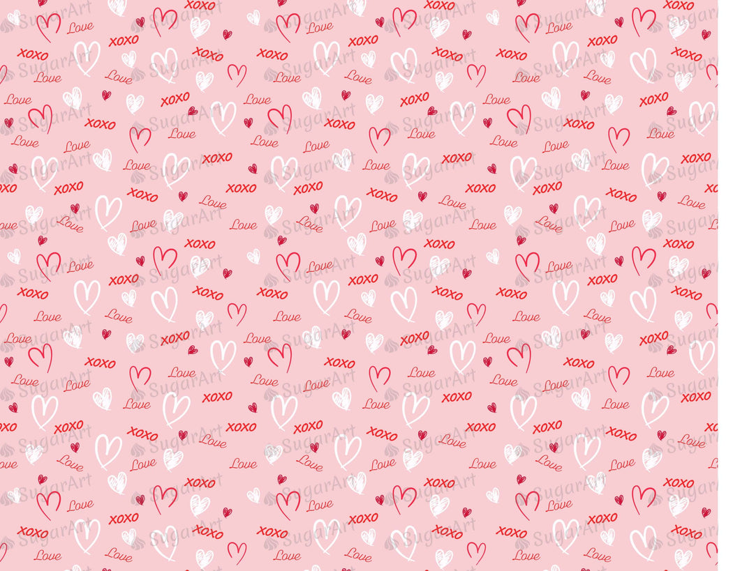 Word Love and Hearts Pattern - Icing - ISA071-Icing/Frosting Paper-Sugar Art