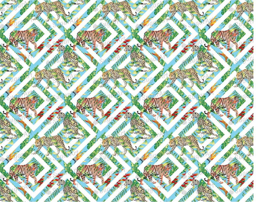 Geometrical Tropic Tiger Leopard Pattern - Icing - ISA073-Icing/Frosting Paper-Sugar Art